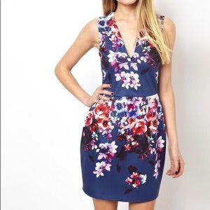 ASOS deep plunge floral lantern dress